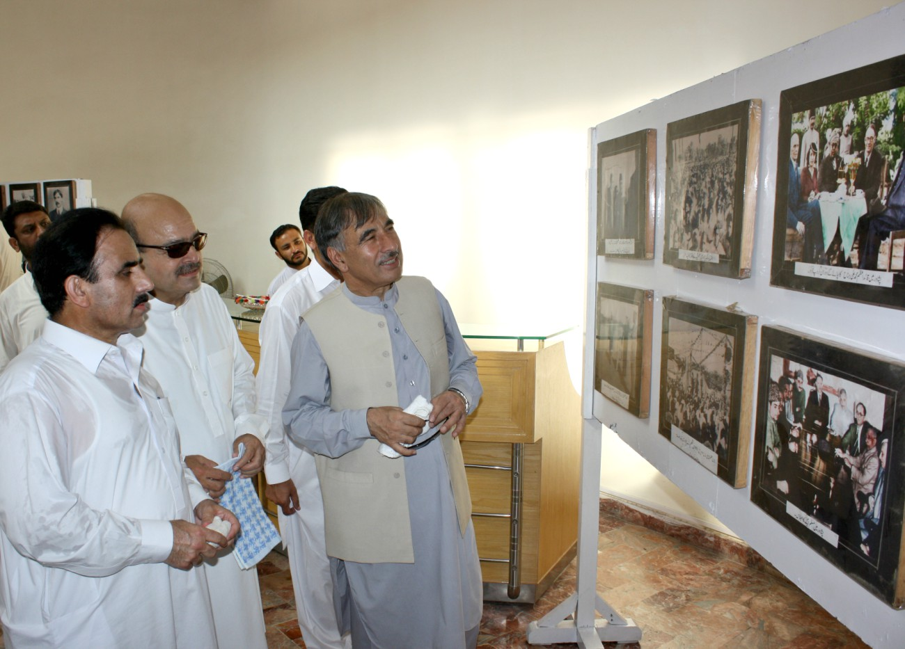Vice Chancellor UoP Prof. Dr. Muhammad Rasul Jan visiting photo exhibition on Independence movement on the occasion of 69th independence day of the country at the University of Peshawar