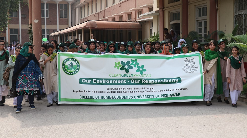 A walk is organised at College of Home Economics University of Peshawar to mark  national level clean and green drive on Thursday 25th October attended by large number of students and faculty members.