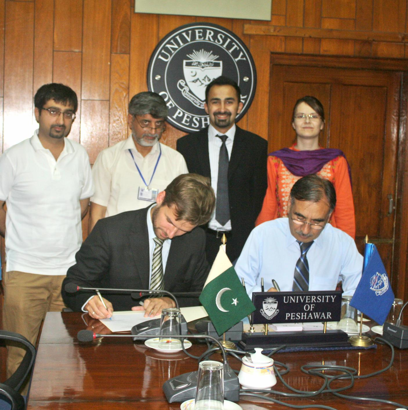 Vice Chancellor UoP Prof. Dr. Muhammad Rasul Jan and Kristof W. Duwaerts of Hans Seidel Foundation Signing MoU at the UoP