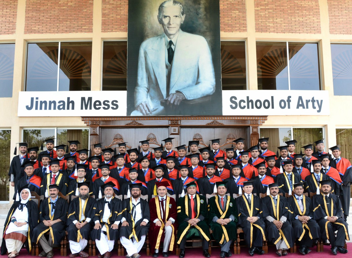 Vice Chancellor UoP Prof. Dr. Muhammad Rasul Jan in group photo with graduates after the Convocation Ceremony at the School of Artillery  Nowshera