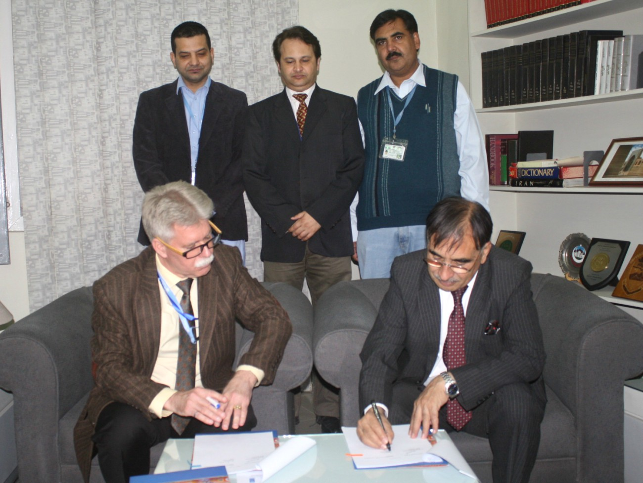 Vice Chancellor UoP Prof. Dr. Muhammad Rasul Jan and representative of UNDP signing MoU between the two institutions at the University of Peshawar