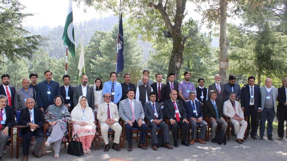 The Vice Chancellor University of Peshawar Prof. Dr. Muhammad Asif Khan is sitting along the speakers of the 29th National and 17th International Chemistry conference held between 6-8 September, at Bara Gali Summer Campus