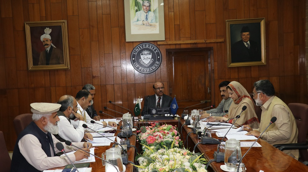 Vice Chancellor University of Peshawar Prof. Dr. Muhammad Asif Khan is chairing a key meeting of Finance and Planning Committee to review the budgetary allocation for Higher Education Commission projects posts on 07th November, 2018.