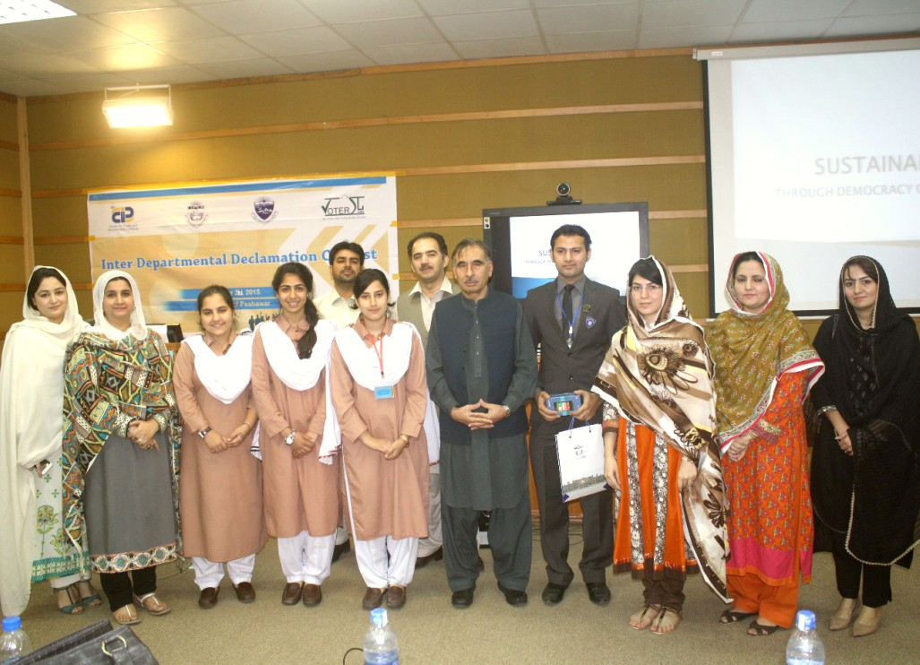 Vice Chancellor UoP Prof. Dr. Muhammad Rasul Jan in a group photo with the participants of Inter-Departmental Quiz and Declamation contest