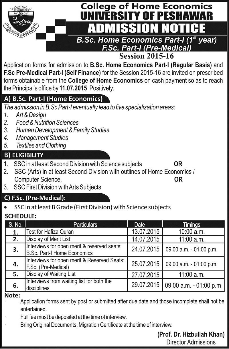 College of Home Economics Admission Notice